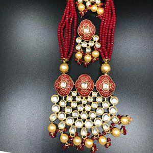 red necklace and earring set.